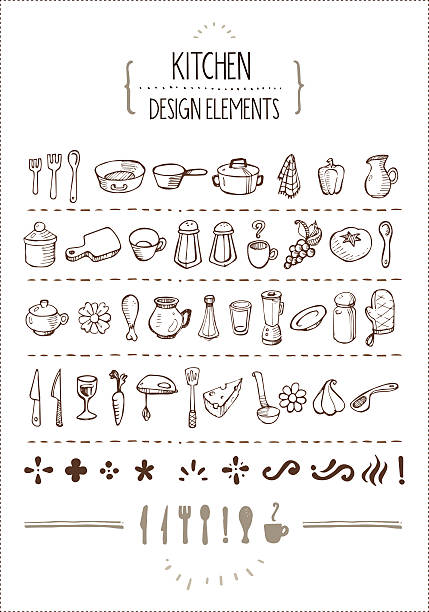 Kitchen Themed Doodles for Designers Several hand-drawn kitchen utensils icons and extra design elements. Perfect for restaurant menus, cooking books, recipes and such. salt stock illustrations