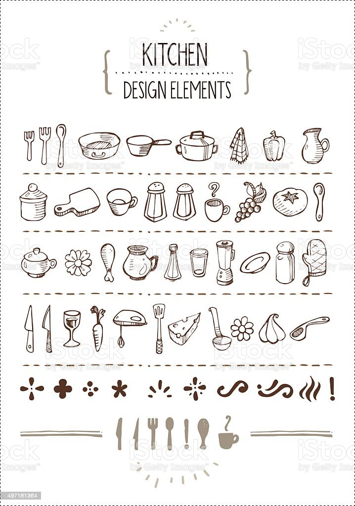 Cocina con garabatos para diseñadores - ilustración de arte vectorial