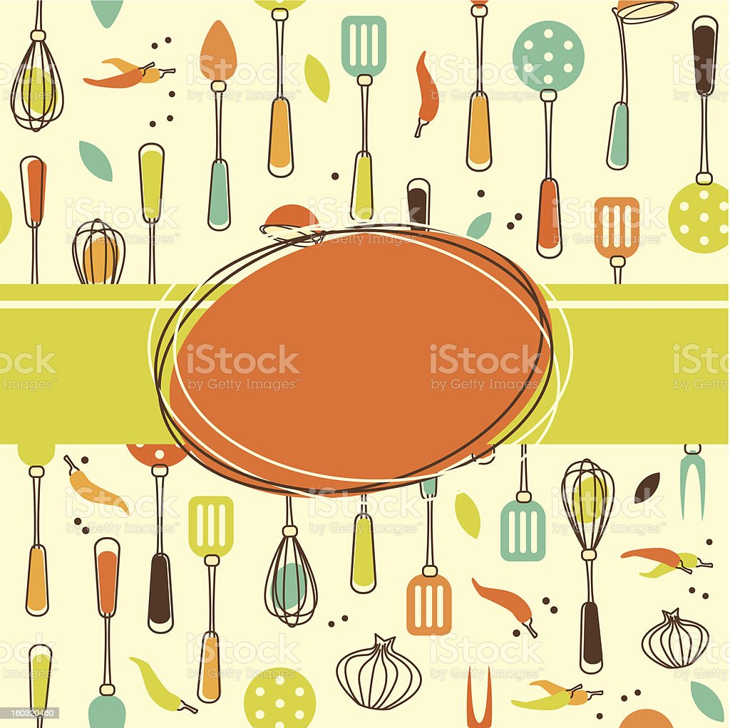 Kitchen Themed Wallpaper With Utensils Royalty Free Stock Vector Art