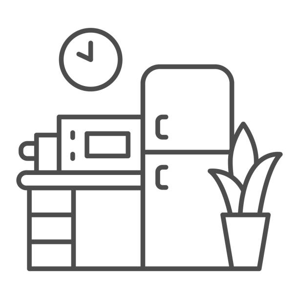 illustrations, cliparts, dessins animés et icônes de icône de ligne mince de cuisine, concept de coworking, signe de meubles sur fond blanc, icône de cuisine de bureau dans le modèle de contour pour le concept mobile et la conception web. graphiques vectoriels. - abstract mirror