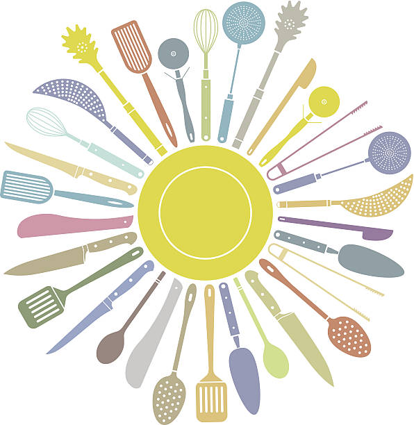 Kitchen tool circle A collection of kitchen tools, each one a single shape, surrounding a plate. kitchenware department stock illustrations