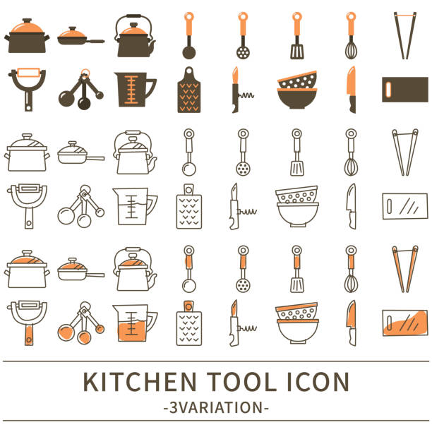 Kitchen tool icon 3 variations of the kitchen tool icon. measuring cup stock illustrations