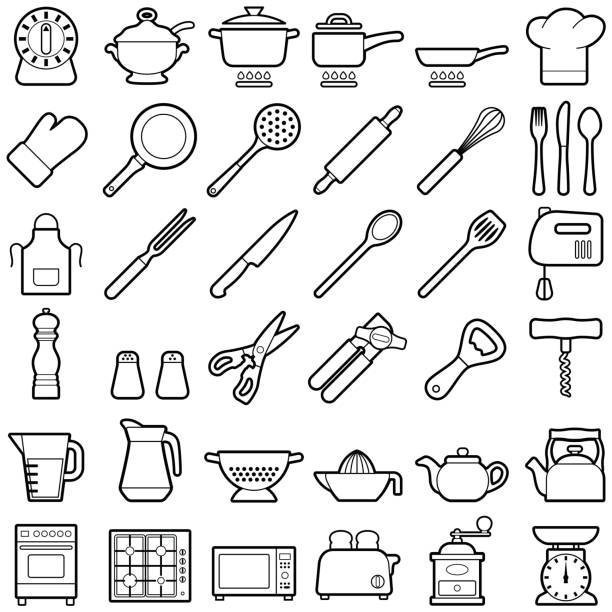 Kitchen tool icons Kitchen tool icon collection - vector outline illustration cooking utensil stock illustrations