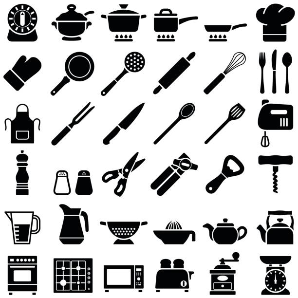 Kitchen tool icons Kitchen tool icon collection - vector silhouette illustration cooking silhouettes stock illustrations