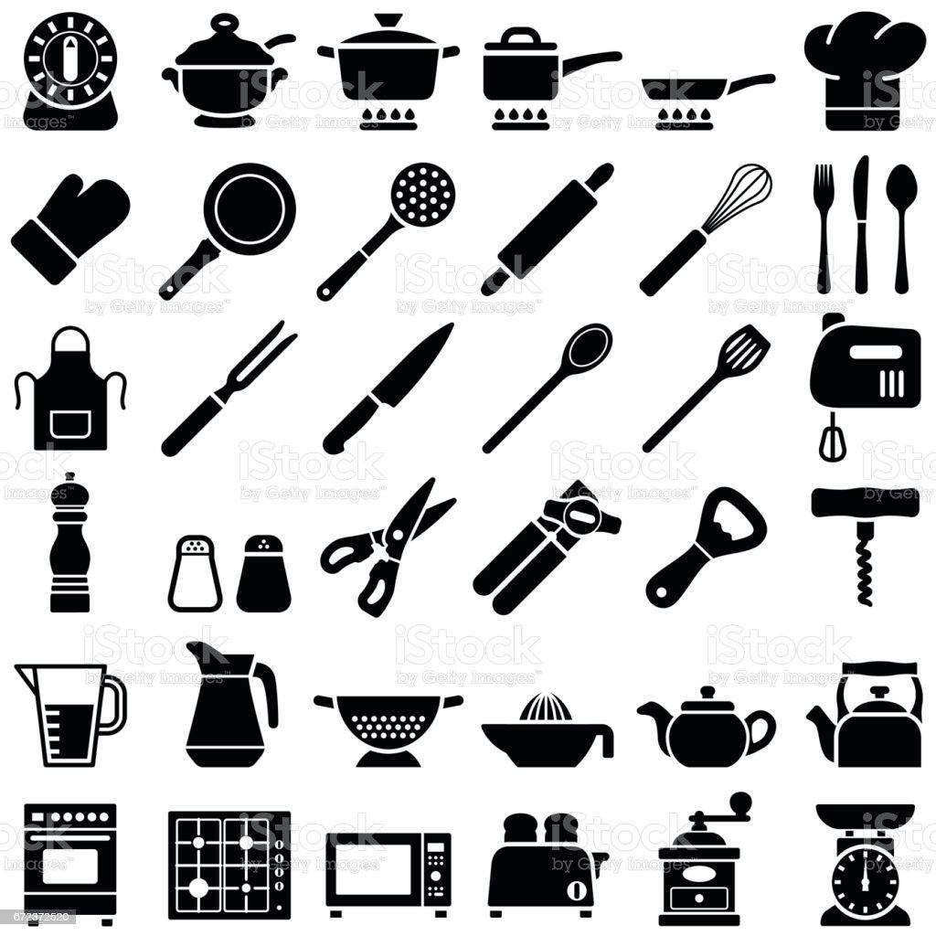 Kitchen tool icons vector art illustration