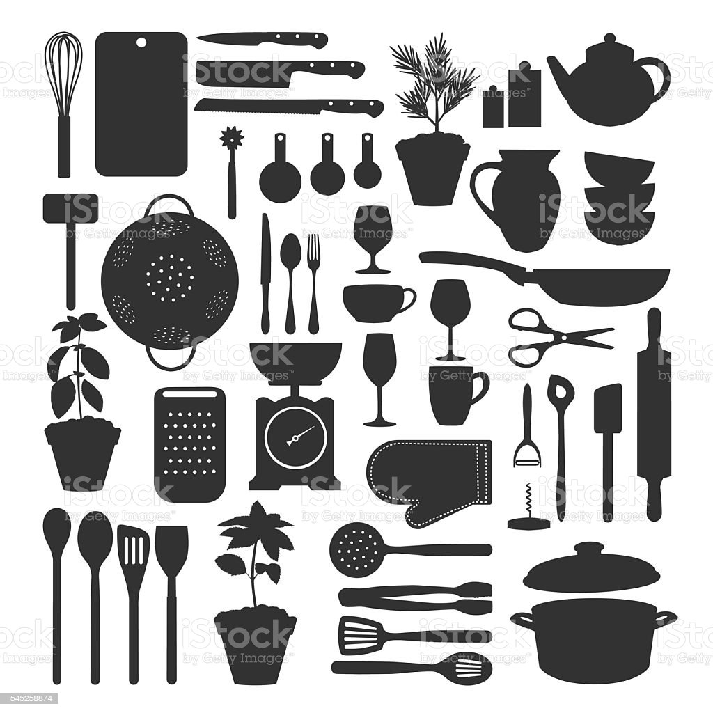 Kitchen tool set isolated vector art illustration
