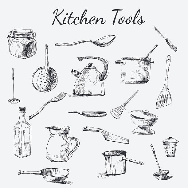 kitchen tool set Vector hand drawn kitchen tools. Black and white vintage kitchen tools made with ink for your paper, polygraphy, fabric, web design utility knife stock illustrations