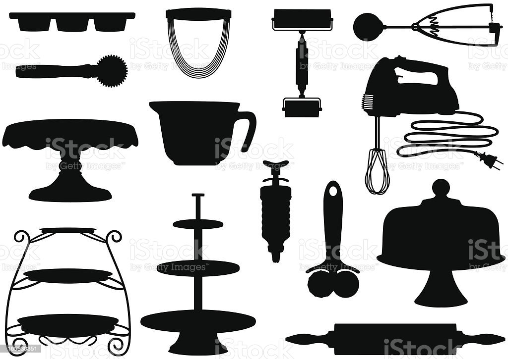 Kitchen Tool Silhouettes royalty-free kitchen tool silhouettes stock vector art & more images of cakestand