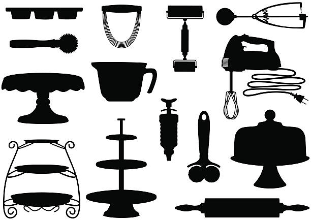 Kitchen Tool Silhouettes Kitchen Tool Silhouettes including cake stand, electric beater, cupcake tin, rolling pin, ice cream scoop, frosting decorator, etc. cakestand stock illustrations