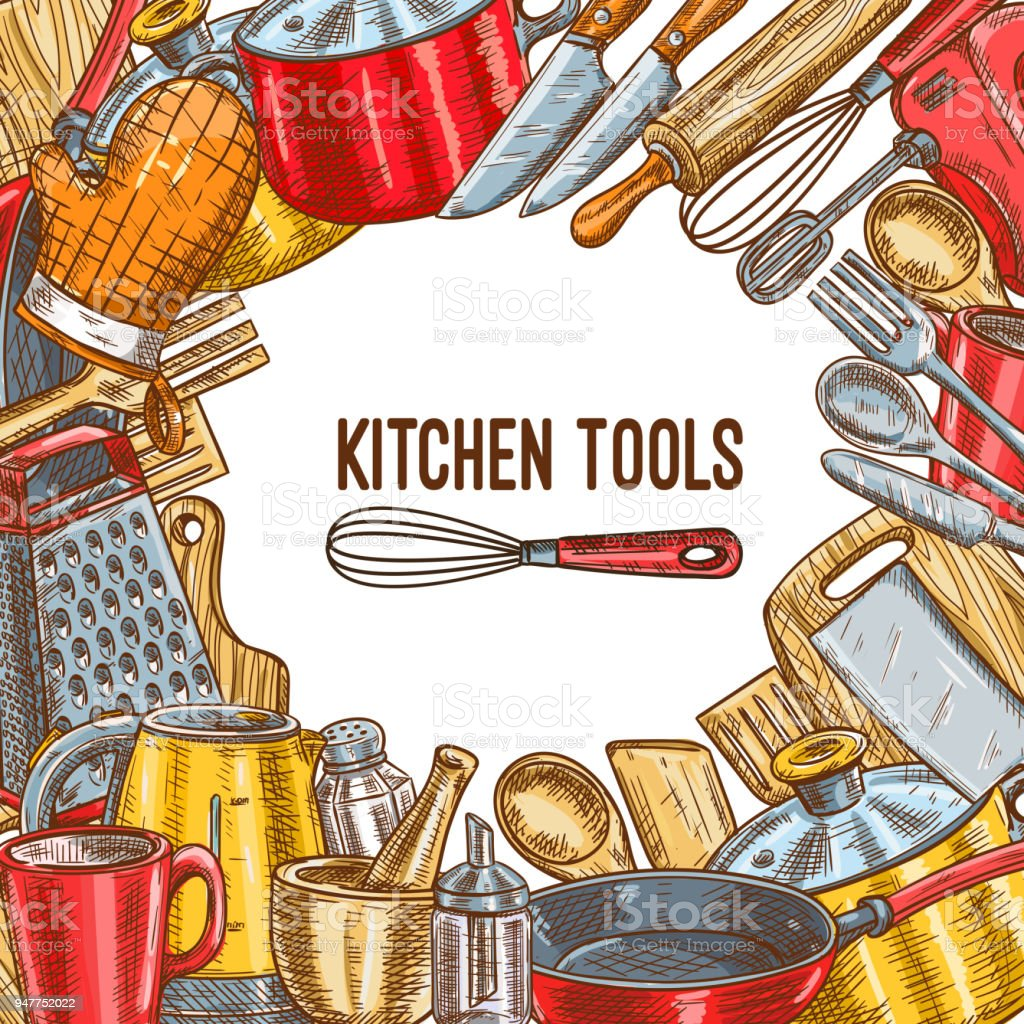 Kitchen Tool Utensil Or Kitchenware Sketch Poster Stock Vector Art ...