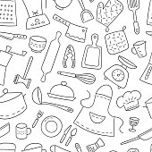 Kitchen tools and tableware. Cook. Seamless pattern. Hand drawn vector illustration in doodle style.