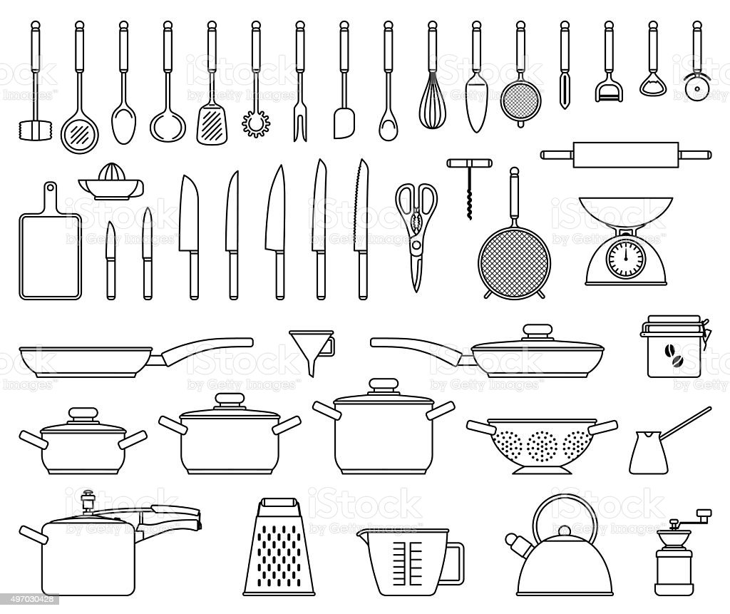 Kitchen tools and utensil vector art illustration
