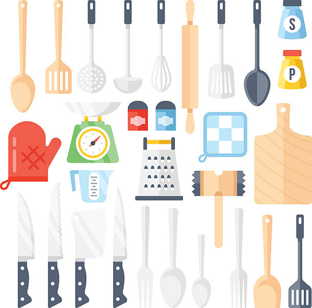 Kitchen tools, cooking equipment, kitchen utensils set. Flat icons set Kitchen tools, cooking equipment, kitchen utensils set. Large collection of different tools, instrument for cooking. Top view. Colorful flat icons set. Vector illustration isolated on white background measuring cup stock illustrations