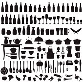 vector set silhouettes of kitchen tools, cooking icons