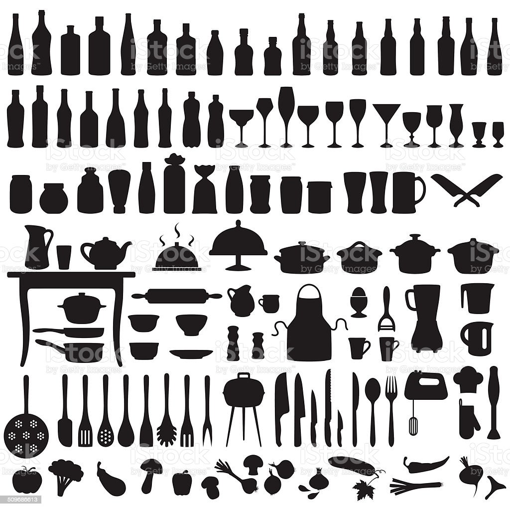 kitchen tools, cooking icons vector art illustration