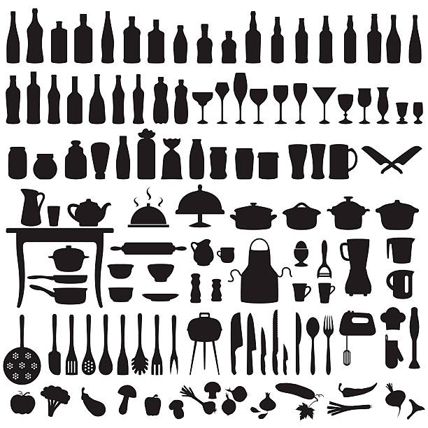 kitchen tools, cooking icons vector set silhouettes of kitchen tools, cooking icons cooking utensil stock illustrations