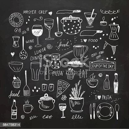 Kitchen tools and equipment. Hand drawn vector Illustration. EPS10, Ai10, PDF, High-Res JPEG included. Chalk drawing