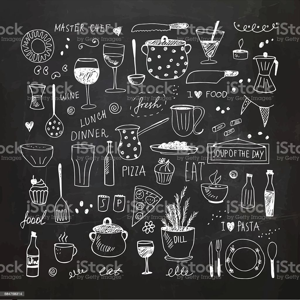 Kitchen tools doodle set. Hand drawn vector Illustration ベクターアートイラスト