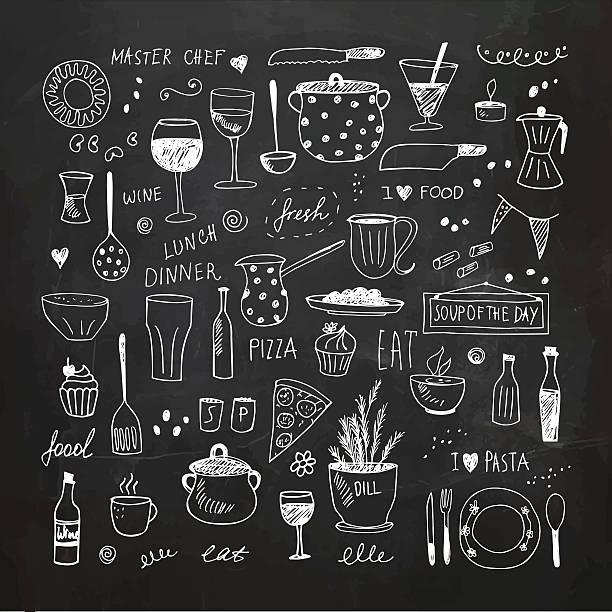 kitchen tools doodle set. hand drawn vector illustration - 食品/飲料点のイラスト素材/クリップアート素材/マンガ素材/アイコン素材