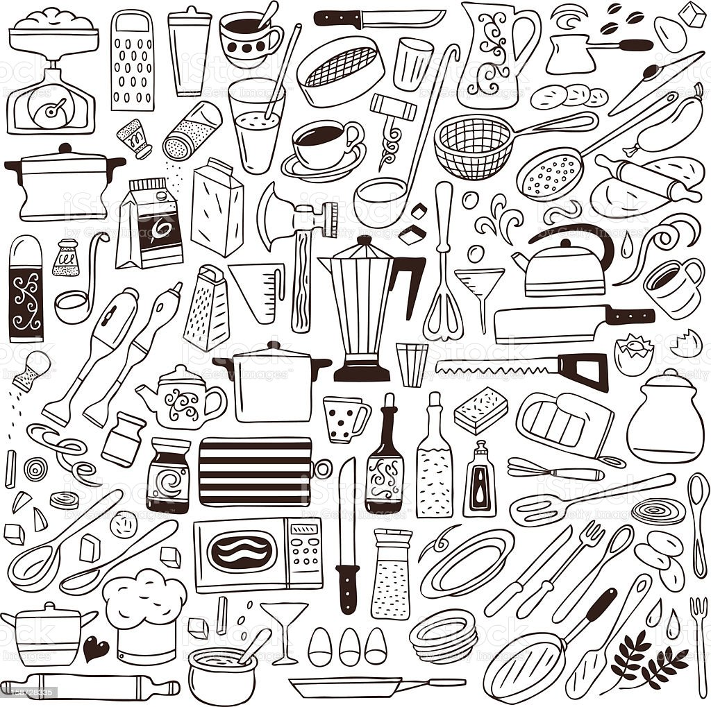 kitchen tools - doodles collection vector art illustration