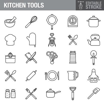 Kitchen Tools Editable Stroke Icon Set
