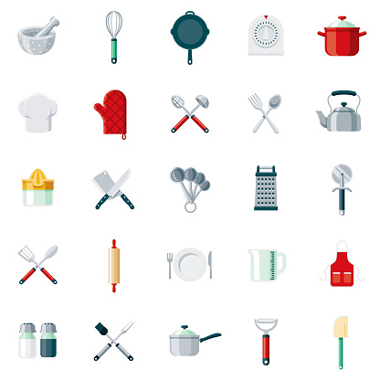 Kitchen Tools Flat Design Icon Set