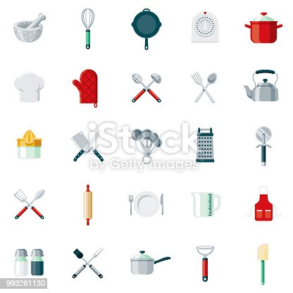 A set of 25 kitchen tools flat design icons on a transparent background. File is built in the CMYK color space for optimal printing. Color swatches are Global for quick and easy color changes.