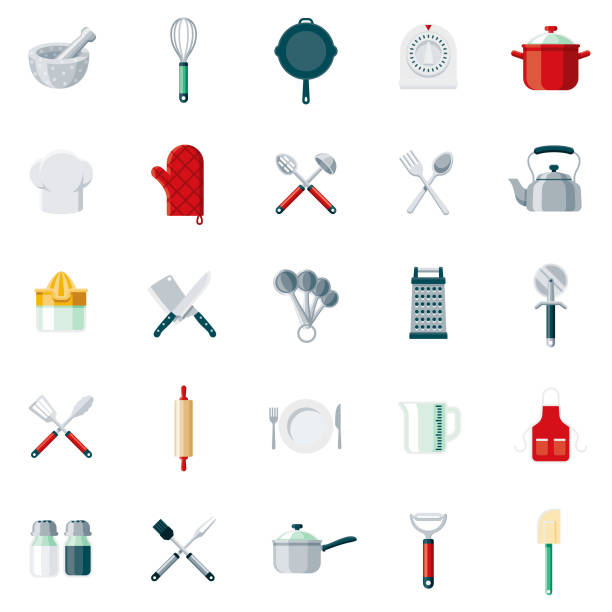 Kitchen Tools Flat Design Icon Set A set of 25 kitchen tools flat design icons on a transparent background. File is built in the CMYK color space for optimal printing. Color swatches are Global for quick and easy color changes. measuring cup stock illustrations