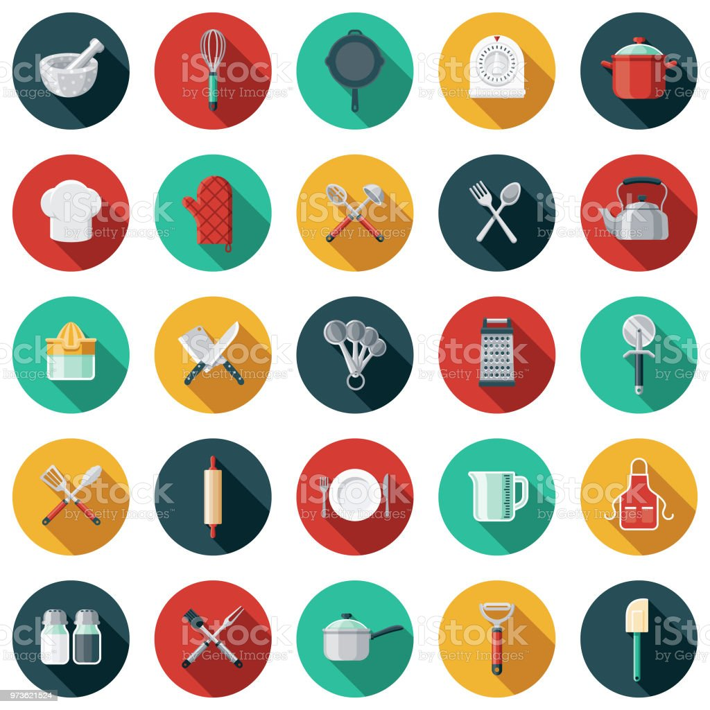 Kitchen Tools Flat Design Icon Set with Side Shadow A set of flat design styled kitchen tools icons with a long side shadow. Color swatches are global so it's easy to edit and change the colors. Apron stock vector