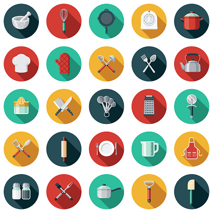 Kitchen Tools Flat Design Icon Set with Side Shadow