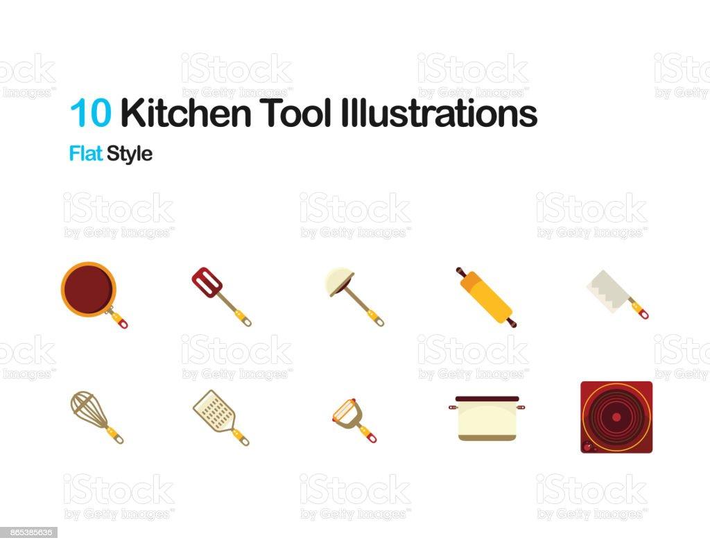 Kitchen tools Flat Illustrations vector art illustration