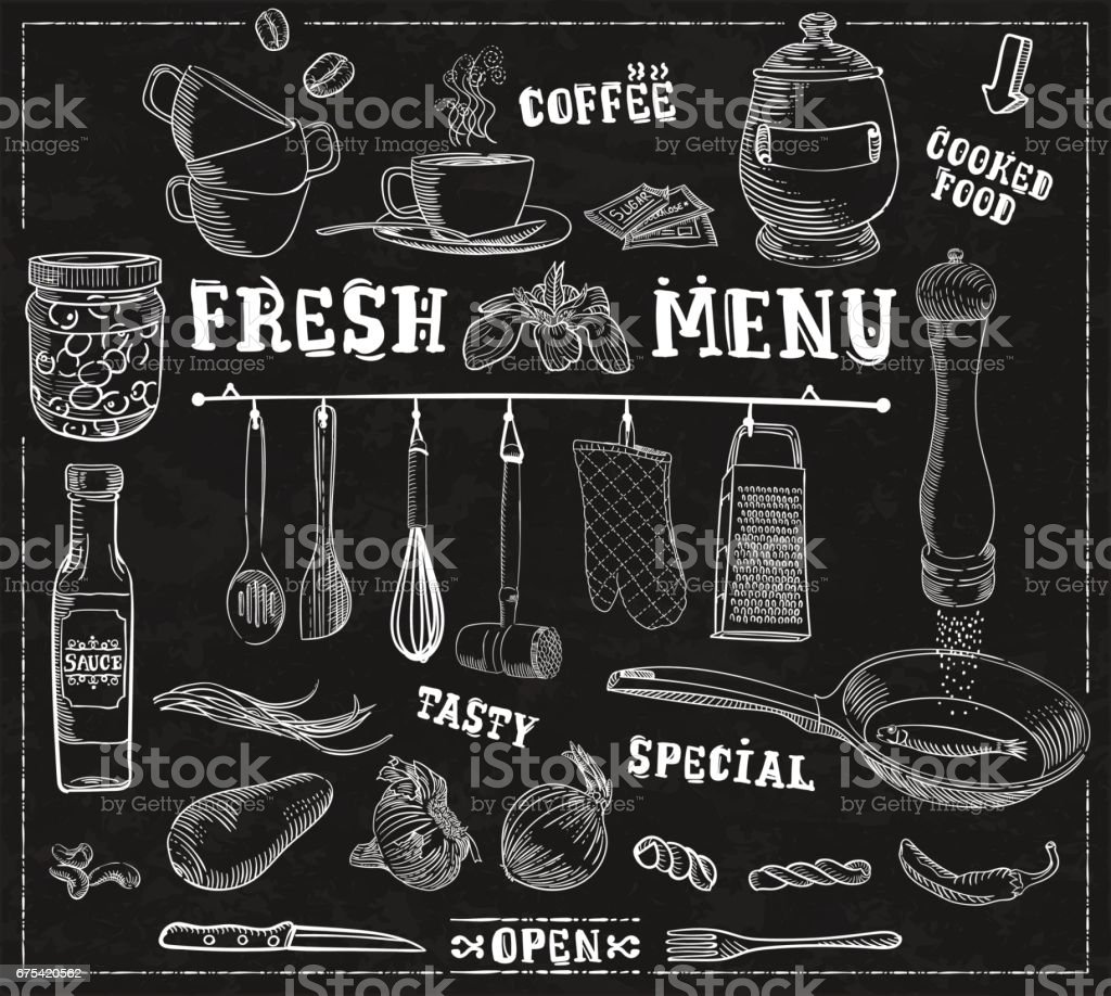 Kitchen tools, food ingredients background with captions for restaurants vector art illustration