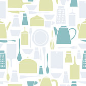 Kitchen tools for cooking. Vector seamless pattern