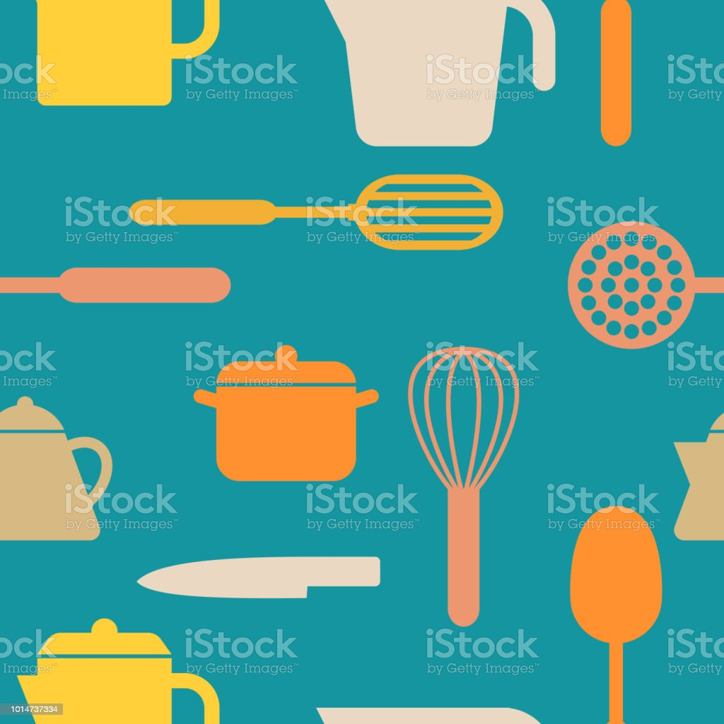 Kitchen Tools Icon Seamless Pattern Background Stock Vector Art ...
