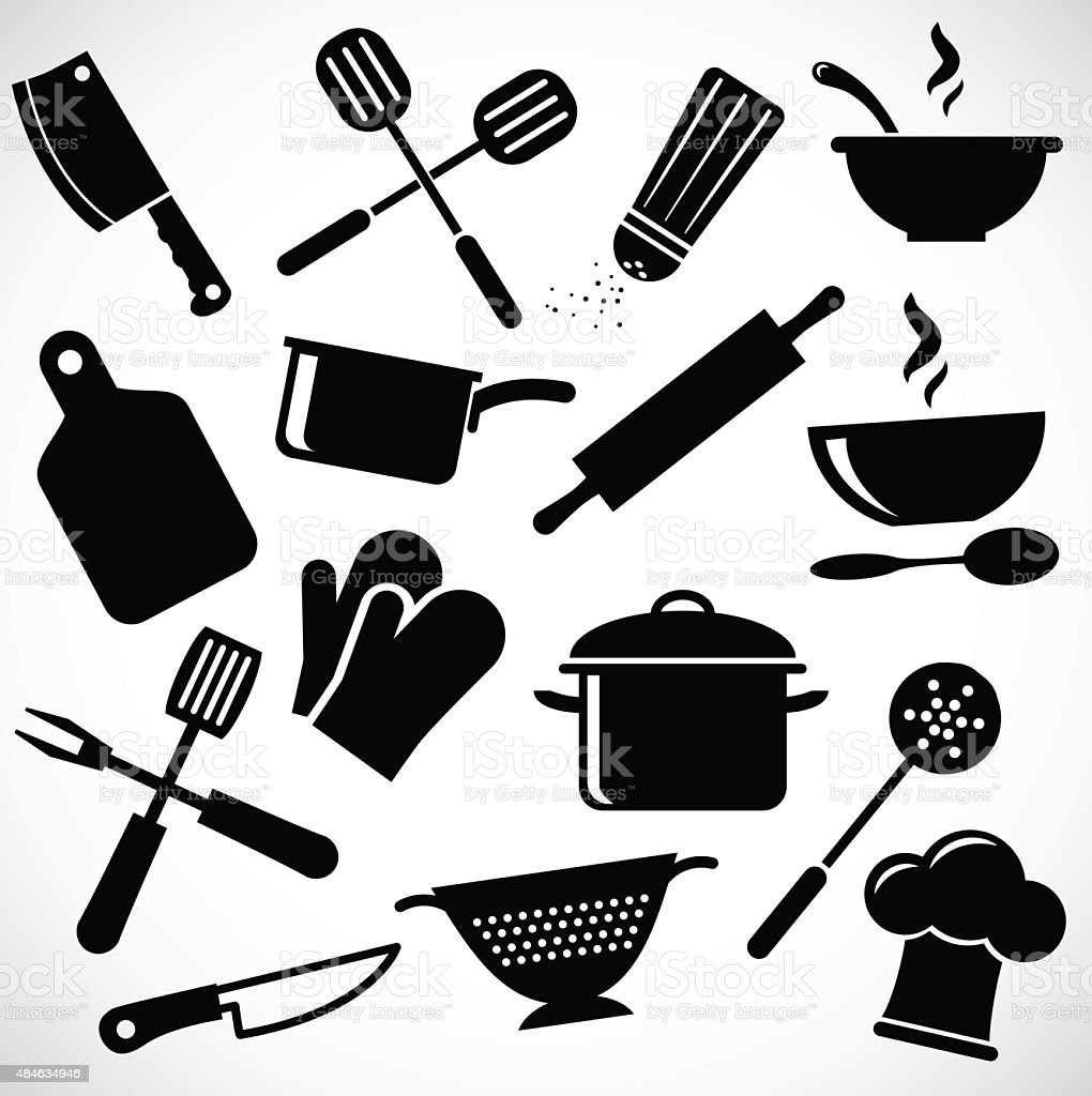 Kitchen tools icon set. vector art illustration