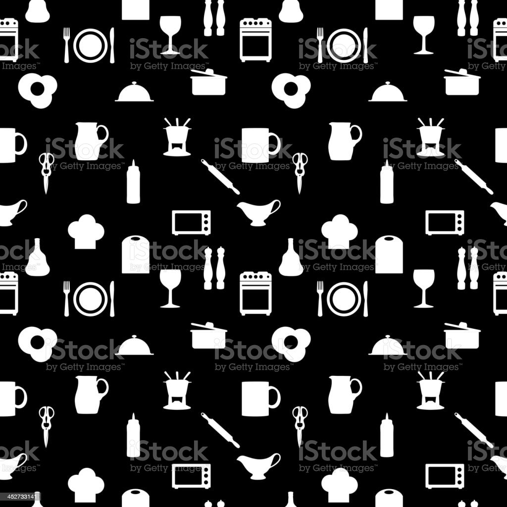 Kitchen tools icons Silhouette seamless pattern Vector illustration royalty-free kitchen tools icons silhouette seamless pattern vector illustration stock vector art & more images of animal brush