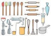 Kitchen, tools illustration, drawing, halftone, retro, cartoon, vector