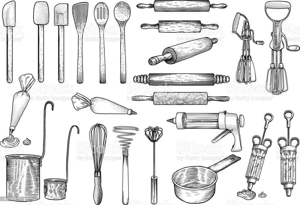 Kitchen, tools illustration, utensil, vector, drawing, engraving, cook, cooking, patisserie, - illustrazione arte vettoriale