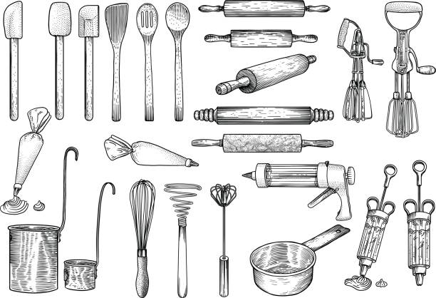 Kitchen, tools illustration, utensil, vector, drawing, engraving, cook, cooking, patisserie, Kitchen set, what made by ink, then it was digitalized. rolling pin stock illustrations