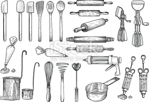 Kitchen Tools Illustration Utensil Vector Drawing