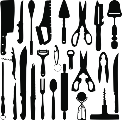 Household objects silhouette stock illustrations