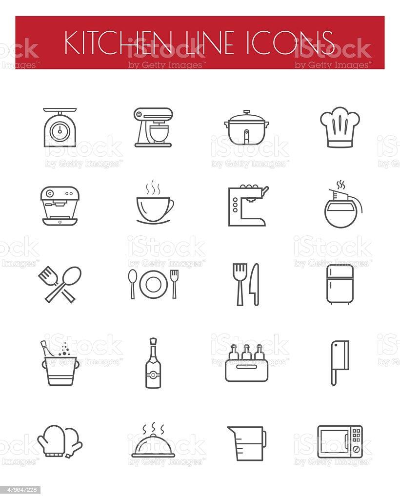 kitchen tools line icon sets vector art illustration