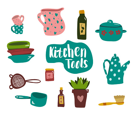 kitchen tools or equipment in flat style: Pot, plants, cup, dish, bowl, teapot.