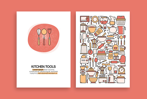 Kitchen Tools Related Design. Modern Vector Templates for Brochure, Cover, Flyer and Annual Report.