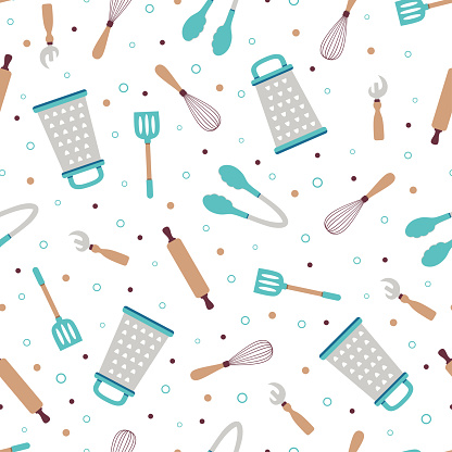 kitchen tools seamless pattern on white background