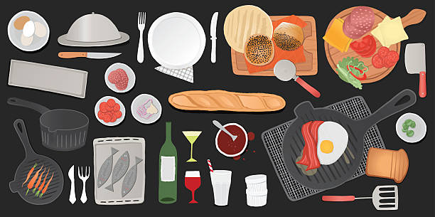 Kitchen Tools Set And Food Illustration From Top View Vector Art