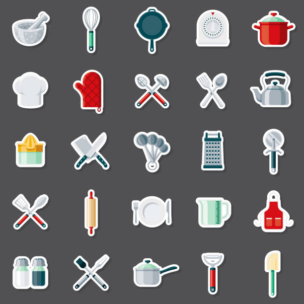 Kitchen Tools Sticker Set A set of flat design sticker icons. File is built in the CMYK color space for optimal printing. Color swatches are global so it's easy to edit and change the colors. measuring cup stock illustrations