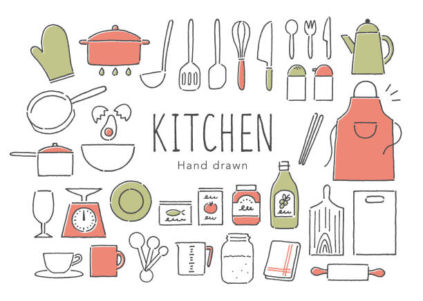 Kitchen tools Kitchen tools measuring cup stock illustrations