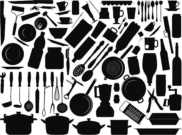 Kitchen tools Things you may find in your kitchen isolated on white background, file is very easy to edit, objects are very flexible to resize, modify, rotate or color. cooking utensil stock illustrations