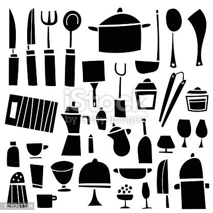 Vector illustration of a collection of retro styled kitchen tools